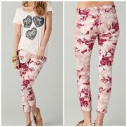 J Brand Skinny Twill Capri Twisted Pink Seashell Floral Jeans Womenand039s Size 31