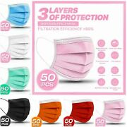[50-pc]3-ply Layer Disposable Face Mask Dust Filter Safety Pink White Blue Black