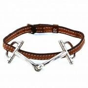 Pre-owned Authentic Hermes Bit Leather Silver Bracelet F/s
