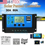 Lcd 30a-60a Solar Charger Controller Pwm Dual Usb Charge Regulator Panel 12/24v