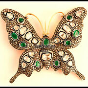 Vintage 6.18cts Rose Antique Cut Diamond Silver Butterfly Brooch Pin Jewelry