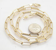 Fashion Elongated Paper Clip Chain Necklace Real 14k Yellow Gold 14 Thru 46