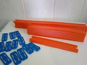 Hot Wheels Track Lot Of 18 Pieces Of Track Assorted Sizes And 13 Connectors