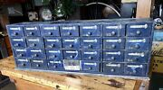Antique 28 Drawer Counter Top Parts Cabinet, Hardware Store, Display