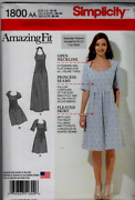 Simplicity 1800 Sewing Pattern Amazing Fit Dress 2 Lengths Pleated Maxi Long New