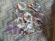 Lot Vintage Lamp Prisms Glass And Plastic- Amber- Clear- Purple All