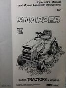 Snapper 1650 1650a Riding Lawn Garden Tractor And Mower Deck Owners Manual 1979