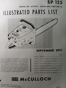 Mcculloch Chain Saw Sp 125 600076 Parts Manual 2-cycle Gas Chainsaw 1971