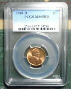1948 D Wheat Penny Pcgs Ms 65rd Full Red Brilliant Uncirculated Bday Gift Store