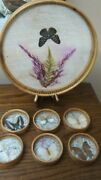 Bamboo Round Tray/ Real Butterflies /dried Flowers/ 6 Coasters Lovely