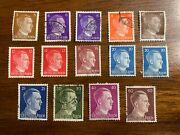 14 Adolph Hitler Stamp Set / Excellent Condition / Andnbspwwii Germany / 1941-1944