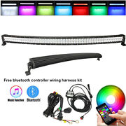 52 Inch Curved 5d Rgb Off Road Led Light Driving Bar And Free Wiring Harness Kits