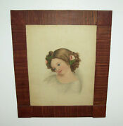 Antique Vtg 19th C 1840s Portrait Of Beautiful Girl 23 X 27 Watercolor On Paper