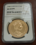 Great Britain U.k. 1988 Gold 5 Pounds Sovereigns Ngc Ms68 Dpl Deep Proof Like