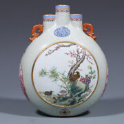 8.3 Old Chinese Qianlong Famille Rose Porcelain Hand Painting Flower Bird Vase