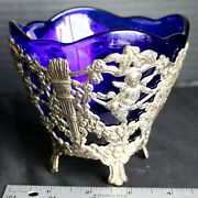 Ornate Vintage Corbell And Co. Cobalt Blue Glass Tarnish Protected Silver Cherub