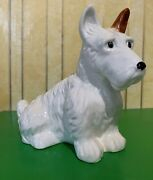 Beswick Dog Terrier Puppy Seated Large No.286 Gloss White And Tan Finish Perfect