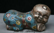 8 Old China Cloisonne Enamel Silver Tongzi Boy Kid Weeping Willow Pillow Statue