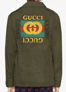 New Auth Logo Embroidered Green Cotton Drill Military Parka Jacket Sz 52