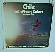 Braniff Airlines International Poster Chile Flying Colors Original 1970-80's