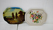 Vintage Metal Tin Tray Set Of 2 Trays Flowers And Country Home Scenario