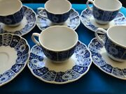 11 Lipper And Mann Blue Imari L And M Tea/coffee Cup Scalloped And Saucer