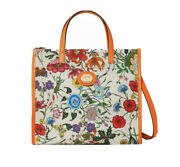 New With Tag 100 Auth Floral Medium Tote Crossbody Neon Orange Flower Bag