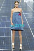 Spring 2013 Denim Runway Dress With Panel Cc Faux Pearl Button 34 New