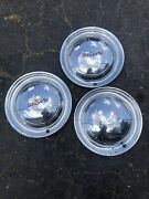 1949 1950 Desoto Hubcaps Set Of 3 Wheel Covers 15 Deluxe Sedan Used Take Off