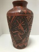 Southwestern Native American Navajo Etched Pottery Vase, Turquoise Stones,signed