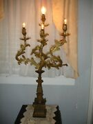 Large Pair Antique Signed Bradley And Hubbard Rococo Acanthus 4 Light Candleabra