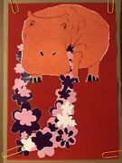 The Hippy Hippo Original Vintage Animal Poster Pin-up Red Flowers 1970s Headshop