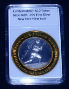 Babe Ruth Limited Edition 10 Silver Token999 Fine Silvernew Yorklast Coin