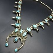 Alfred Long Vintage Navajo Sterling Silver Turquoise Squash Blossom Necklace