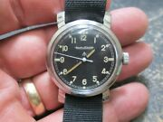 Jaeger Lecoultre British Wwii Broad Arrow Military Heavy Lug Running Wrist Watch