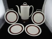 Wedgwood Susie Cooper Designs Indian Summer 9 Tall Coffee Pot With 4 Plates