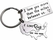 Lparkin Love Keychains For Couples I Love You More Than The Miles Between Us I'l