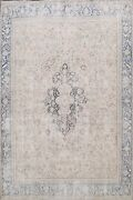 Muted Semi Antique Kirman Distressed Area Rug Evenly Low Pile Hand-knotted 9x13