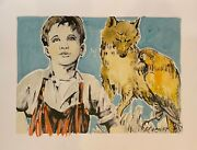 David Bromley Children Series Boy And Wolf Signed Mixed Media 80cm X 105cm