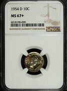 1954 D Ngc Ms 67 Plus Roosevelt Silver Dime ☆☆ Great For Sets ☆☆ 009