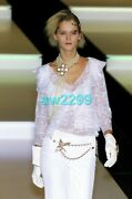 Runway 2 Piece Top And Jacket Pearl Button Lace Set 38 New W/fabric Swatch