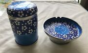 A Pure Silver 99 Blue And White Enamel Round Asian Cigarette Holder And Ashtray