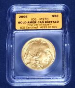2006 50 Gold Buffaloicg-ms709999 Pure1st Day Of Issue222/999with Box