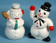 1950s Christmas Snowman Salt And Pepper Shaker Figural Ceramic Set With Cork Plugs