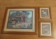 Vintage Home Interiors 3 Piece Garden Print With Potting Shed Barbara Mock