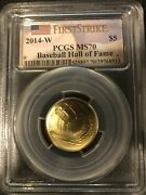 2014-w 5 Dollar Gold Baseball Hall Of Fame First Strike Pcgs Ms70 Very Rare