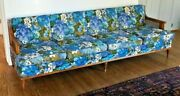 Mid Century Modern Floral 4 Seat Sofa Cane Sides 86l