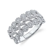 14k White Gold Diamond Wave Cocktail S Ring Womens Natural Round Cut Size 7
