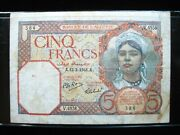 Algeria 5 Francs 1941 French Algerie Nice 384 Bank Currency Banknote Money