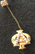 Alpha Phi Badge - 10k Yellow Gold Pearls Enamel Sorority Pin With Chapter Guard